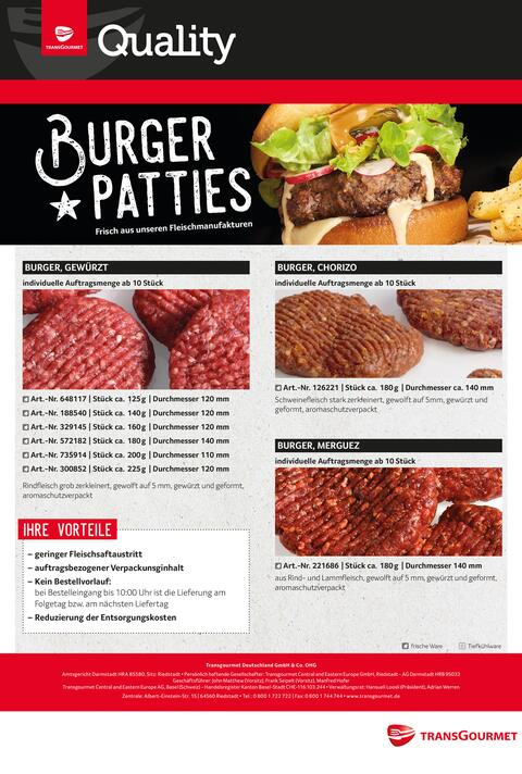 Transgourmet Quality Burger Patties